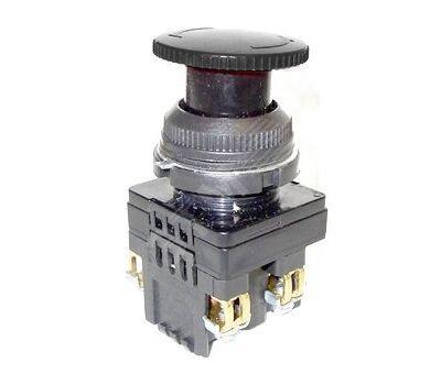 Выключатель кнопочный КЕ-141 У2 исп.5 черный 1р грибовидный с фиксацией IP54 10А 660В (529348)