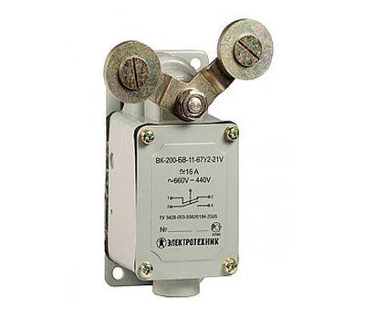 ВК-200-БВ-11-67У2-21, V-образный рычаг с роликом на каждом плече, без сальника, ход вправо, cамовозврат, ступень 2-51мм, IP67